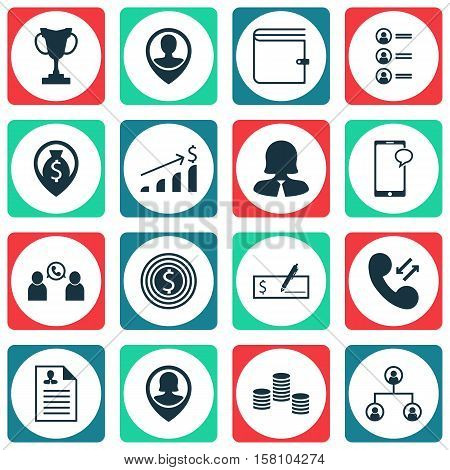 Set Of Management Icons On Cellular Data, Bank Payment And Wallet Topics. Editable Vector Illustrati