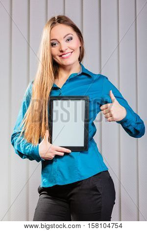 Young Office Worker Hold Tablet With Thumb Up.