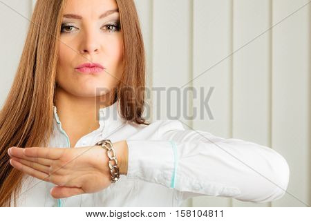 Woman In Formal Wear Check Time On Watch.