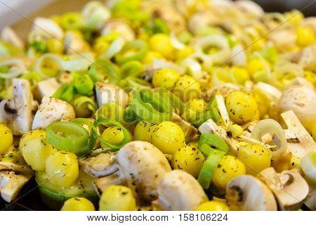 Vegetables: Potatoes, Mushrooms And Leek Ready For Roasting. Pre