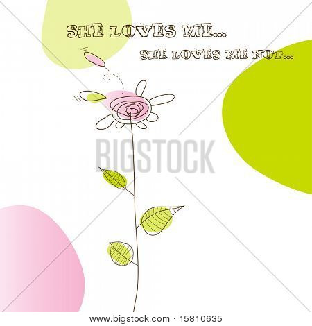 Funky illustration with simple flower. Vector art