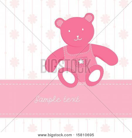 Colorful illustration with teddy bear and place for your own text. Vector art