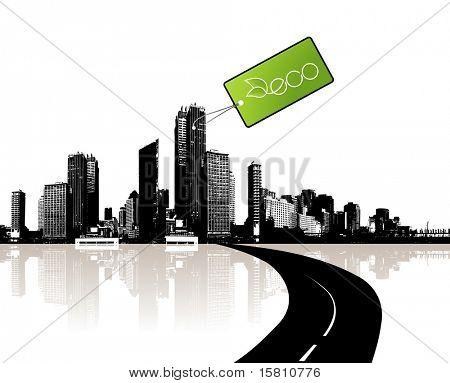 Ciudad con etiqueta ecológica. Vector