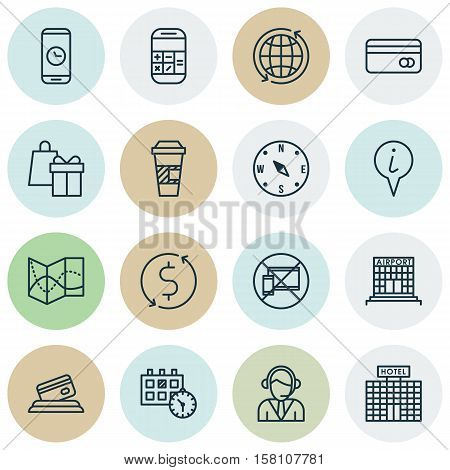 Set Of Airport Icons On Locate, World And Shopping Topics. Editable Vector Illustration. Includes Ph