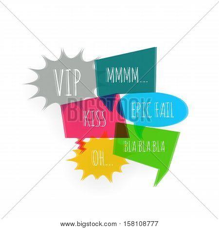 Set text speech color bubble icons glitch style white background. Banner text design vsh effect, glitch, noise people presentation communication, web banner. Vector illustration text cloud glitch.
