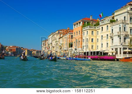 Venice Italy - 8 September 2016: The Grand Canal of Venice Italy