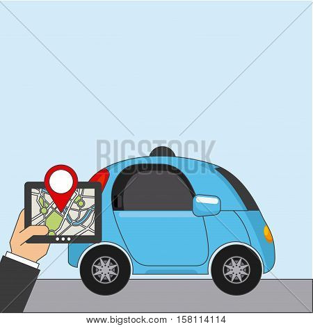autonomous car vehicle and hand holding a tablet with city map on screen. ecology,  smart and techonology concept. vector illustration