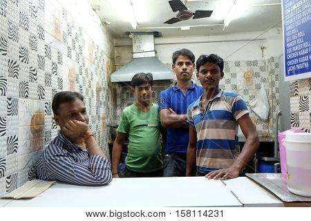KOLKATA, INDIA - FEBRUARY 09: Street fast food shop where they prepare Bombay Rolls in Kolkata on February 09, 2016.