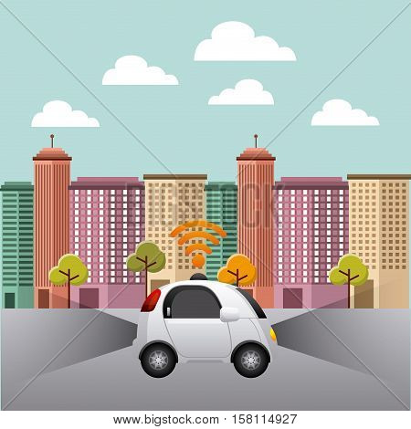 autonomous car vehicle with wireless waves over city background. ecology,  smart and techonology concept. colorful design. vector illustration