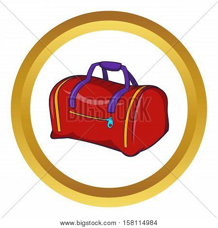 Red sports bag vector icon in golden circle, cartoon style isolated on white background