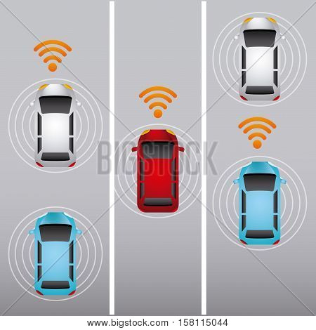 colorful autonomous cars vehicles  with wireless waves over street. ecology,  smart and techonology concept. top view. vector illustration