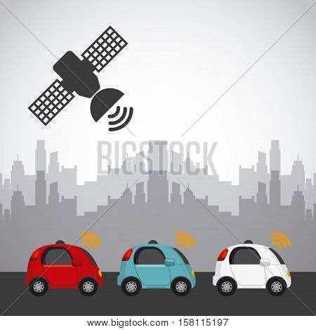 autonomous cars vehicles with wireless waves and satellite icon over the street and city background. ecology,  smart and techonology concept. vector illustration