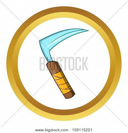 Kusarigama ninja weapon vector icon in golden circle, cartoon style isolated on white background