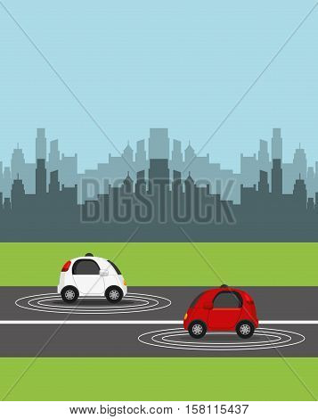 autonomous cars vehicles over street and city background. ecology,  smart and techonology concept. vector illustration
