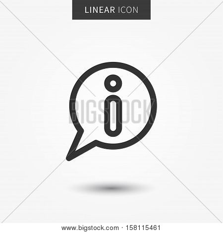 Info icon vector illustration. Isolated information symbol. Helpdesk line concept. FAQ graphic design. Information outline symbol for app. Info pictogram on grey background.
