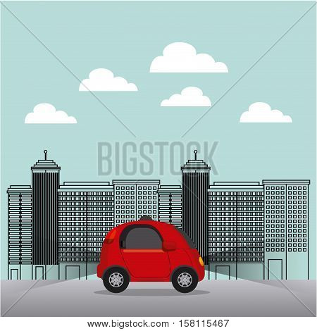 autonomous car vehicle over the street and city background. ecology,  smart and techonology concept. vector illustration