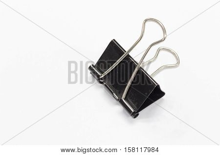 Black Paper clip isolate on white background