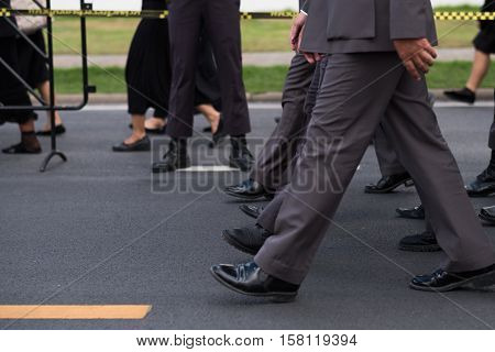 Group of Police walking in row, Official of Thailand.