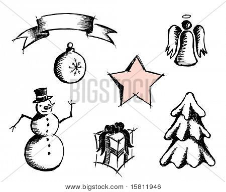 Simple hand drown Christmas icons. Vector