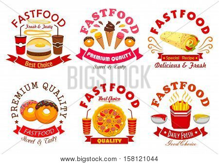 Fast food symbol set. Burger, pizza, coffee and soda drinks, french fries, burrito, donut and ice cream sign with ribbon banner and star. Fast food cafe, pizzeria menu or food packaging design