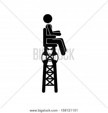 Pictogram lifeguard icon. People person and human theme. Isolated design. Vector illustration