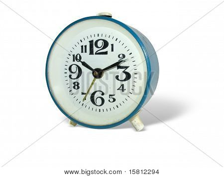 Old Style Alarm Clock Isolated Over White