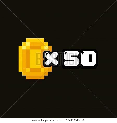 pixel coin x 50 icon over white background. videogame pixel interface. vector illustration