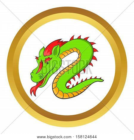 Green chinese dragon vector icon in golden circle, cartoon style isolated on white background