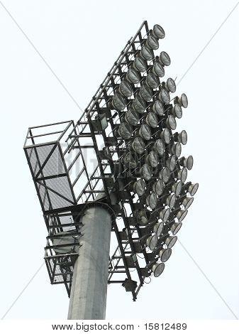 Big Spotlights Lighting Tower At An Stadium