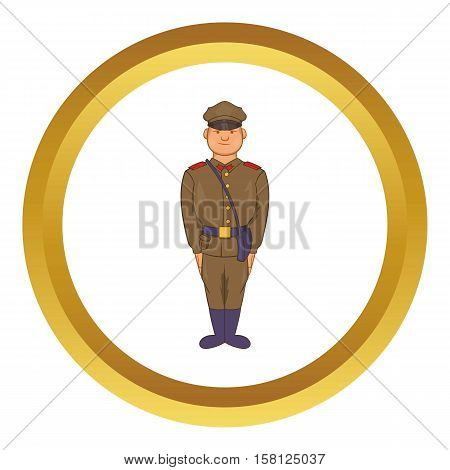 A man in army uniform vector icon in golden circle, cartoon style isolated on white background