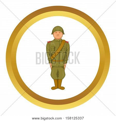 Soviet uniform of World War II vector icon in golden circle, cartoon style isolated on white background