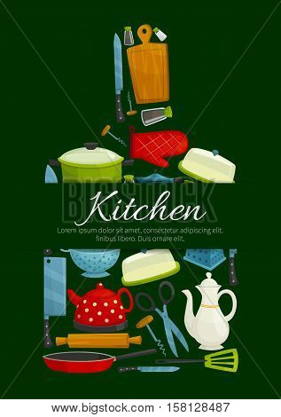 Cutting board with kitchen utensil. Cooking pot and knife, frying pan, spatula, grater and rolling pin, teapot and scissors, kettle, corkscrew, oven glove, salt and pepper shaker. Kitchen theme design