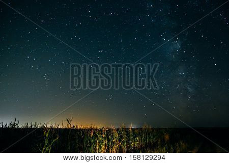 Night sky with stars and the Milky Way over the rural field