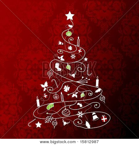 Christmas tree on red background. Vector