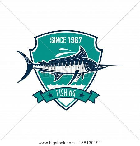Fishing sport heraldic badge. Blue marlin fish with water waves on triangle shield with ribbon banner and star. Fishing sporting club or tournament design