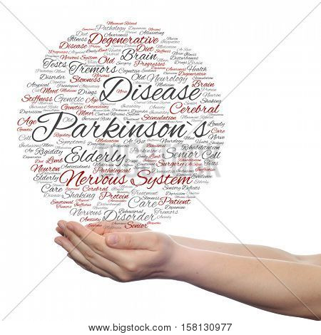 Conceptual Parkinson`s disease healthcare, nervous system disorder abstract word cloud in hands isolated on background