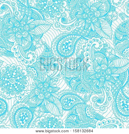 Seamless vintage freehand drawing pattern. Handwritten blue ornament on white background. Vector Illustration. Used for fabrics, wallpapers, wrapping, scrap-booking, web sites, flyers, invitation