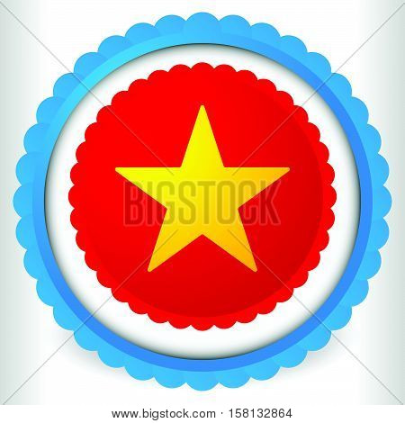 Blank Badge, Rosette, Cockade Icon With Yellow Star Shape