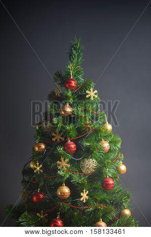 Christmas tree on grey background