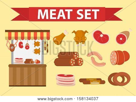 Meat and sausages icon set, flat style. Fresh meat set isolated on a white background. Meat shop, showcase, protein foods. Vector illustration