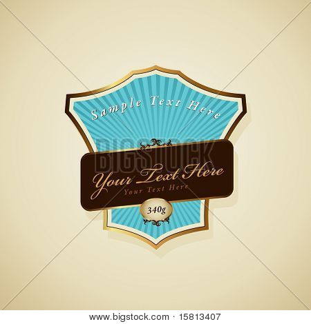 Vector label with ribbon.