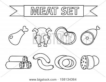 Meat and sausages icon set, modern line style. Fresh meat set isolated on a white background. Meat products, food. Vector illustration
