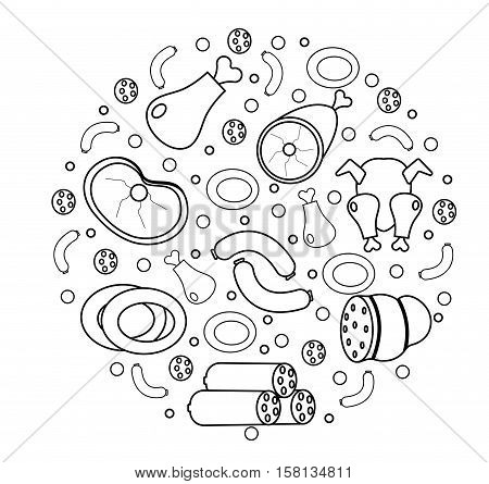 Meat and sausages icon set in round shape, a modern line style. Fresh meat set isolated on a white background. Meat products, food. Vector illustration