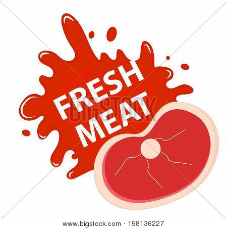 Fresh meat with a splash, icon flat style. Fresh meat emblem sticker isolated on white background. Raw meat with blood. Vector illustration
