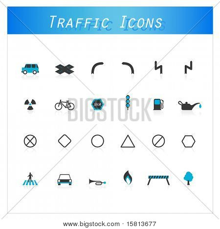 Set of traffic icons.
