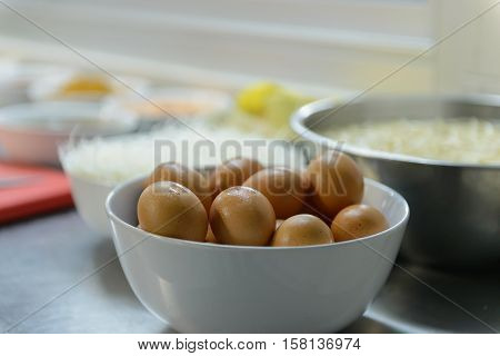 egg on bowl in the kitchen, egg for making PadThai in Thailand, eggs in a bowl