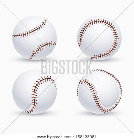 Baseball ball, softball, baseball equipment vector icons. Balls for baseball game, illustration of equipment for play baseball
