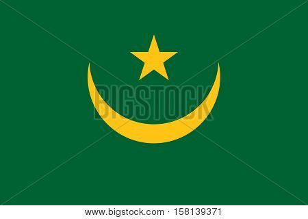 Official vector flag of Mauritania . Islamic Republic of Mauritania .