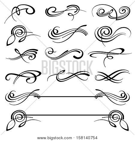 Calligraphy swirls ornate flourish vector decoration set. Calligraphy flourish tattoo, illustration of decoration flourish classical elements