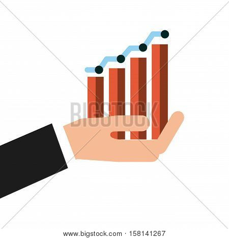 human hand holding a graphic bars chart over white background. invest money and business concept. colorful design. vector illustration